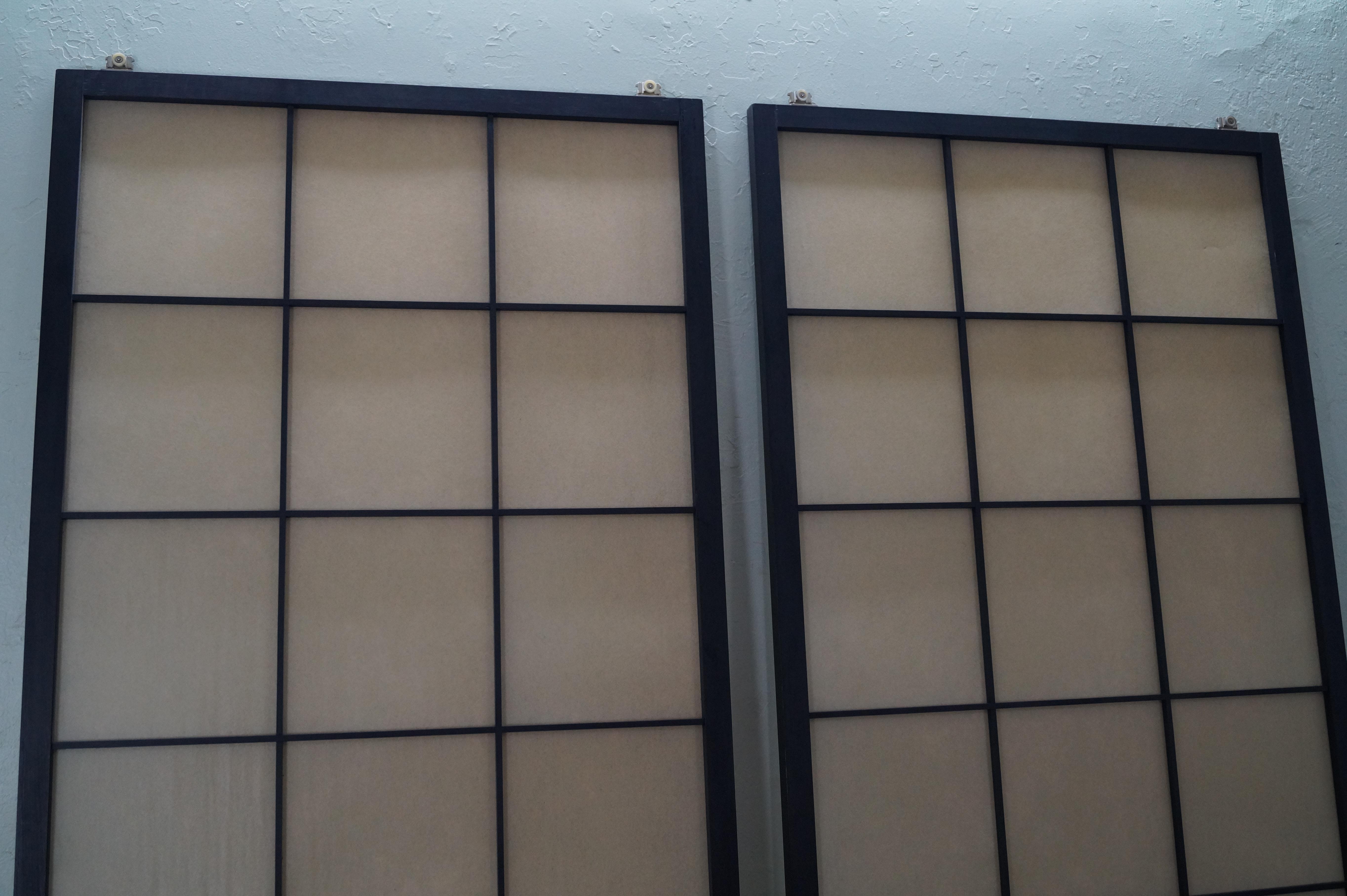 Vintage Japanese Shoji Sliding Doors   A Pair For Sale   Image 4 Of 10