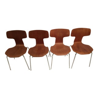 1970s Vintage Arne Jacobsen for Fritz Hansen 3103 Bent Teak Dining Chairs- Set of 4 For Sale