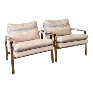 1970s Vintage Milo Baughman for Thayer Coggin Brass Flat Bar Chairs - A Pair For Sale