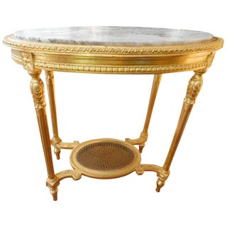 19th Century Louis XVI Style Oval Giltwood Center Table For Sale