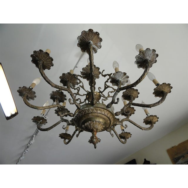 American Antique Decorative Ten-Arm Brass Chandelier For Sale - Image 3 of 11