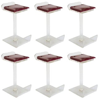 Lucite Bar Stools in the Style of Charles Hollis Jones