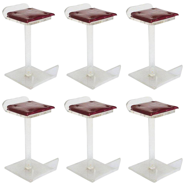 Lucite Bar Stools In The Style Of Charles Hollis Jones   Set Of 6