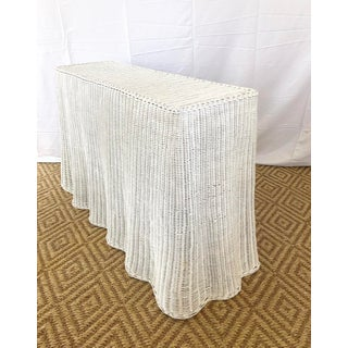 Vintage White Wicker Ghost Trompe L' Oeil Console Preview