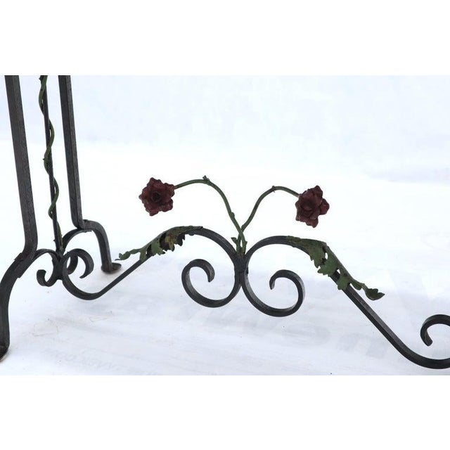Black Marble Top Ornate Wrought Iron Side Console Table For Sale - Image 10 of 13