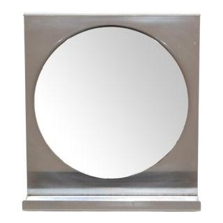 Michel Boyer Mid-Century Modern Brushed Steel Wall Mirror For Sale