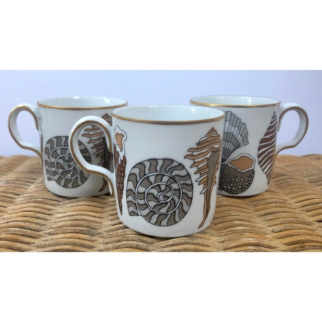 1990s Fitz and Floyd for Neiman Marcus Shell Motif Espresso Demitasse Cups - Set of 3 For Sale - Image 5 of 11