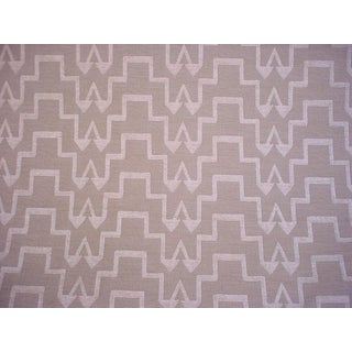 Turkish F Schumacher Step Ivory Natural Ikat Chenille Upholstery Fabric - 5y For Sale