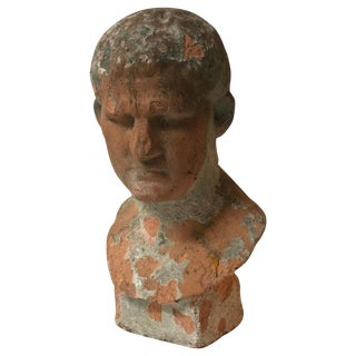 Terra Cotta Bust of Man With Cement Remnants From France For Sale