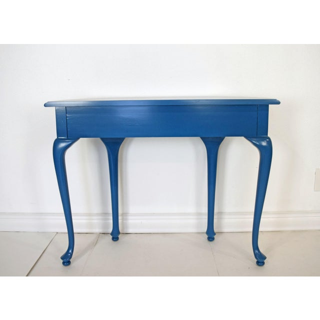 Queen Anne Half-Moon Shape Blue Console Table For Sale - Image 4 of 9