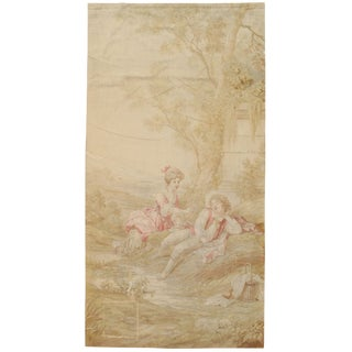 19th Century French Aubusson Tapestry, Handmade, Wall Hanging, Silk Fine - 4'6x8'8 For Sale