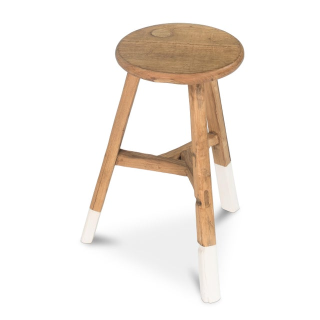 Sarreid LTD Reclaimed Elm Round Stool - Image 2 of 3