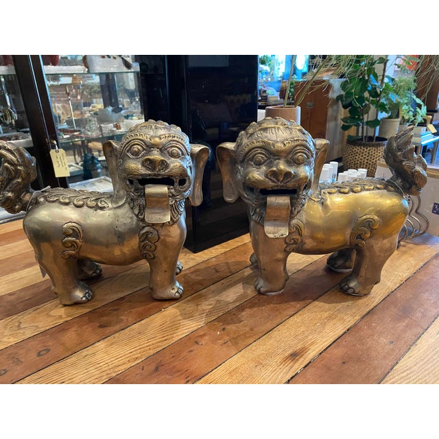 Vintage Brass Foo Lion Dogs For Sale In Los Angeles - Image 6 of 6
