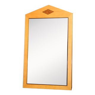Deco 2 Toned Bevel Wall Mirror With Diamond Shaped Accent For Sale