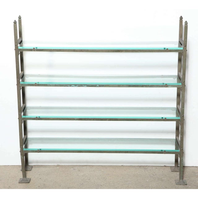 Late 19th Century Brass Edwardian Bread Rack repurposed with four new Beveled Glass Shelves. Featuring a nicely weighted...