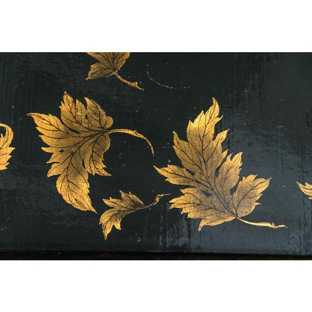 Asian Black Lacquer Wood Cocktail Table With Hand Painted Gold Florals For Sale - Image 12 of 13