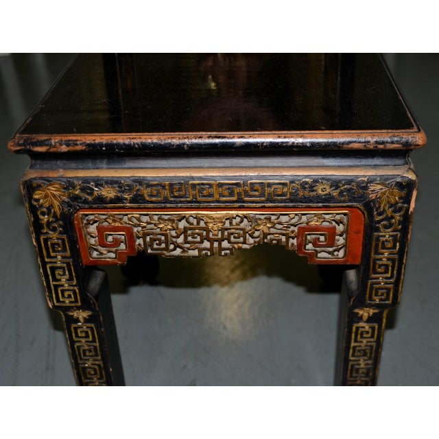 Red 19th Century Carved & Painted Chinese Side Chair For Sale - Image 8 of 13