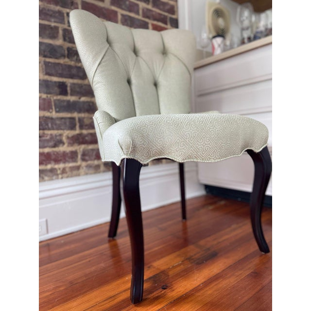 Tufted Occasional Baker Chair with dark stained cabriole legs upholstered in silver toned figured woven fabric. Would make...