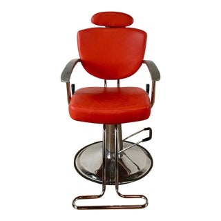 Chrome and Red Leather Barber Chair