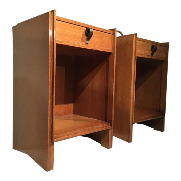Superb Pair of Oak Bedsides With Pure Design and Original Iron Handle For Sale