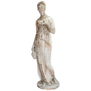 19th Century French Hand Carved Stone Female Statue For Sale