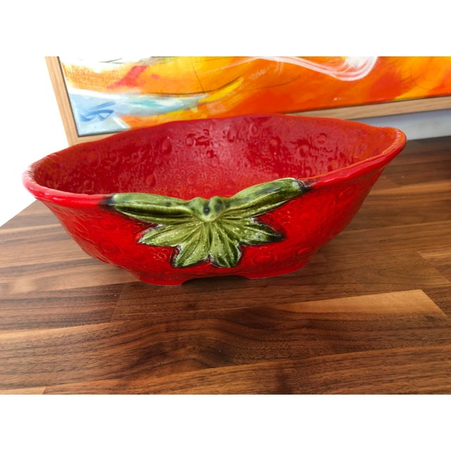 Large Italian Majolica Strawberry Bowl For Sale - Image 4 of 11