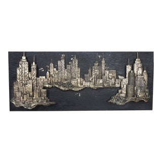 Mid Century Modern Fiberglass Sculptural Wall Art Vintage Chicago Skyline 1960s For Sale
