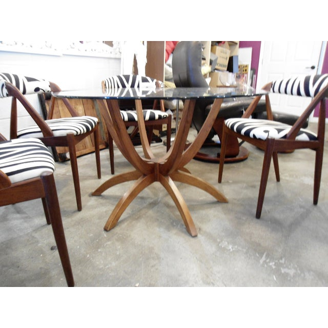 Danish Modern Glass Table & 4 Chairs - Image 4 of 8