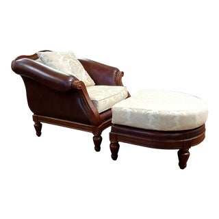 Thomasville Ernest Hemingway Leather & Fabric Camel Back Chair & Ottoman With Nailheads and Cherry Trim For Sale
