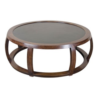 Hand Made Low Round Table in Ebony and Black Lacquer by Robert Kuo For Sale