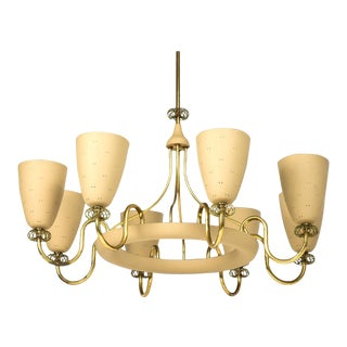 1950s Paavo Tynell for Lightolier Eight Arm Chandelier For Sale