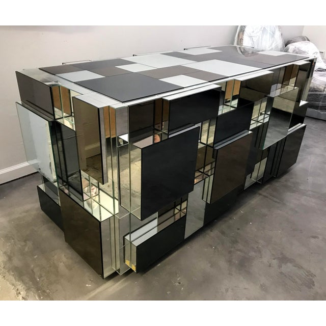 Brutalist Paul Evans Style Mirrored Dining Table Base For Sale - Image 3 of 6