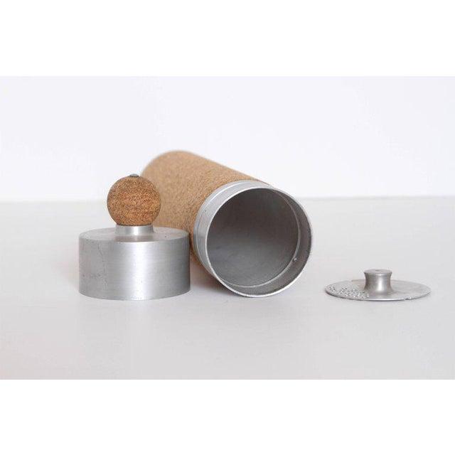 Aluminum Machine Age Art Deco Cocktail Shaker Spun Aluminum & Cork For Sale - Image 7 of 11