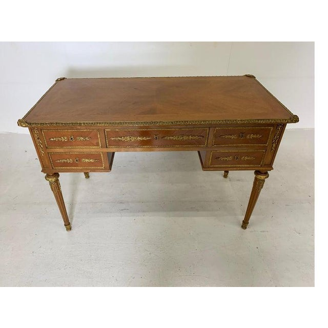 French French Style Mahogany and Satinwood Writing Desk With Ormolu For Sale - Image 3 of 13