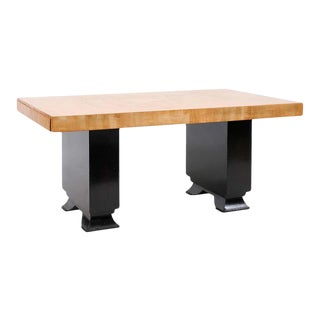 Brutalist 1960s Table with Black Stained Pagoda Style Base For Sale
