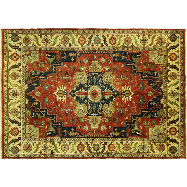 "Red & Ivory Heriz Serapi Knotted Rug - 9'10"" x 14' - Image 1 of 10"