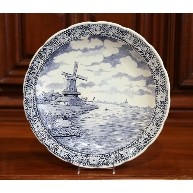 White Early 20th Century Dutch Hand-Painted Bosh Delft Platter With Pastoral Scene For Sale - Image 8 of 8