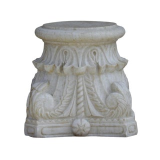 Carved Scrolled Column Pedestal