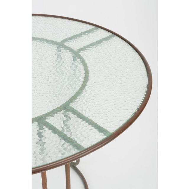 Gold Round Patio Table With Oxidized Bronze Frame by Walter Lamb for Brown Jordan For Sale - Image 8 of 13