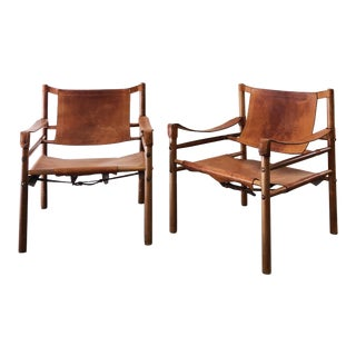 Vintage Safari Leather Chairs - a Pair