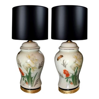 Reverse Painted Glass Chinoiserie Lamps With Black & Gold Lampshades - a Pair For Sale