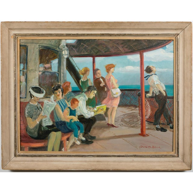 """Mid 20th Century """"Riders on the Staten Island Ferry"""" Oil Painting By Cecil Crosley Bell For Sale - Image 11 of 11"""