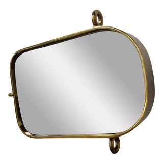 Vintage Brass Nautical Mirror For Sale