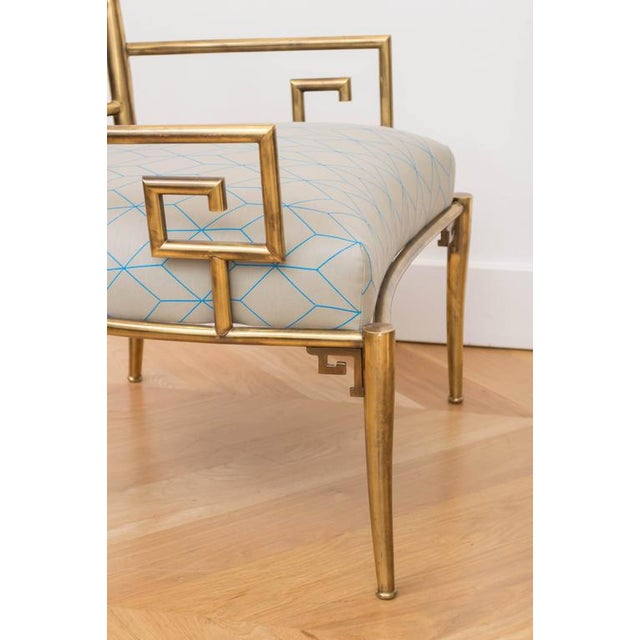 Brass Italian Greek Key Armchair For Sale - Image 4 of 6