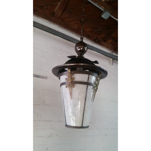 Gothic Arts and Crafts Brass Pendant Light For Sale - Image 10 of 11