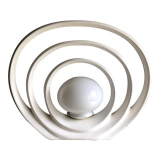Vintage White Circle Accent Lamp Mod Concentric Op Art Lighting For Sale