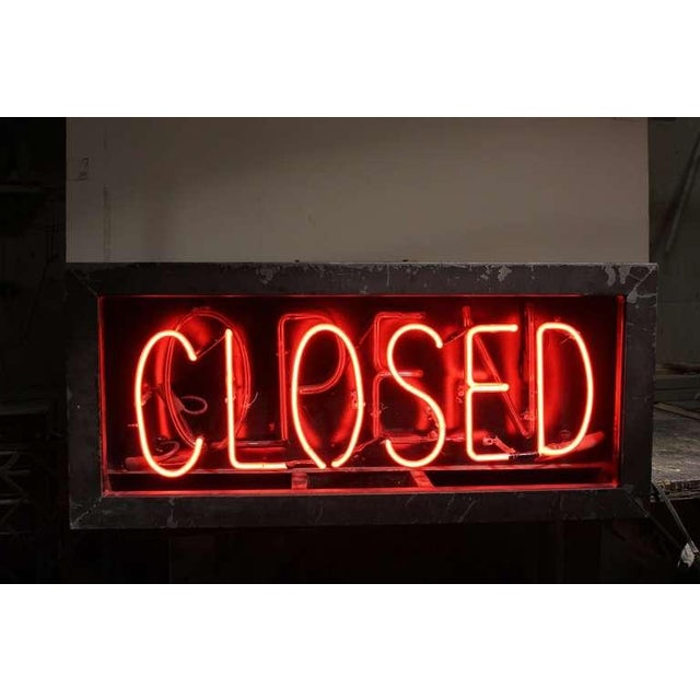 1930's Vintage Neon Open/Closed Sign For Sale - Image 4 of 4