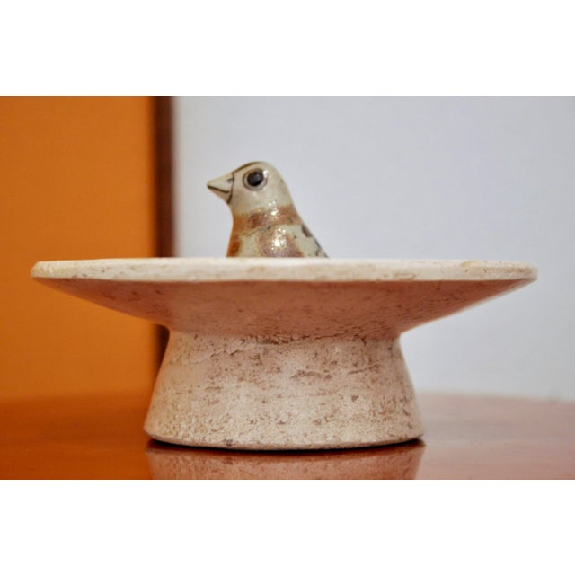 Jorge Wilmot Miniature Pottery Owl on Travertine Pedestal For Sale - Image 4 of 5