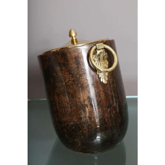 1960s Aldo Tura Goatskin and Brass Tilted Ice Bucket For Sale - Image 5 of 9