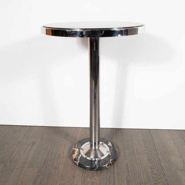 Silver Art Deco Machine Age Chrome, Marble and Vitrolite Drinks Table For Sale - Image 8 of 10